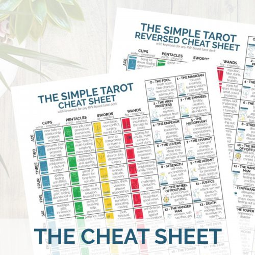 The PDF printable tarot cheat sheet from The Simple Tarot.