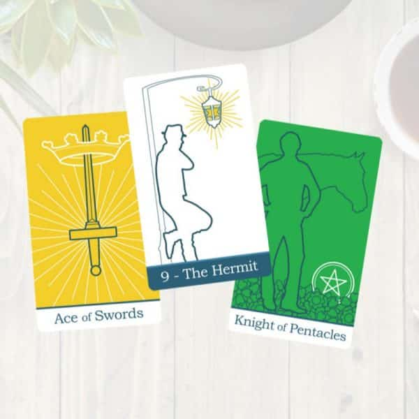 Three tarot cards from The Simple Tarot Deck - Classic version.
