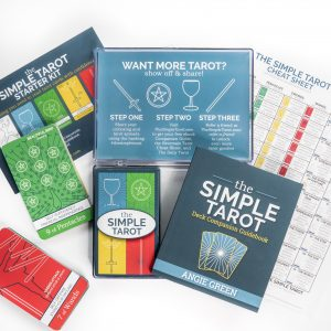 The Simple Tarot Deck Starter Kit for tarot beginners with tarot cards with meanings on them.