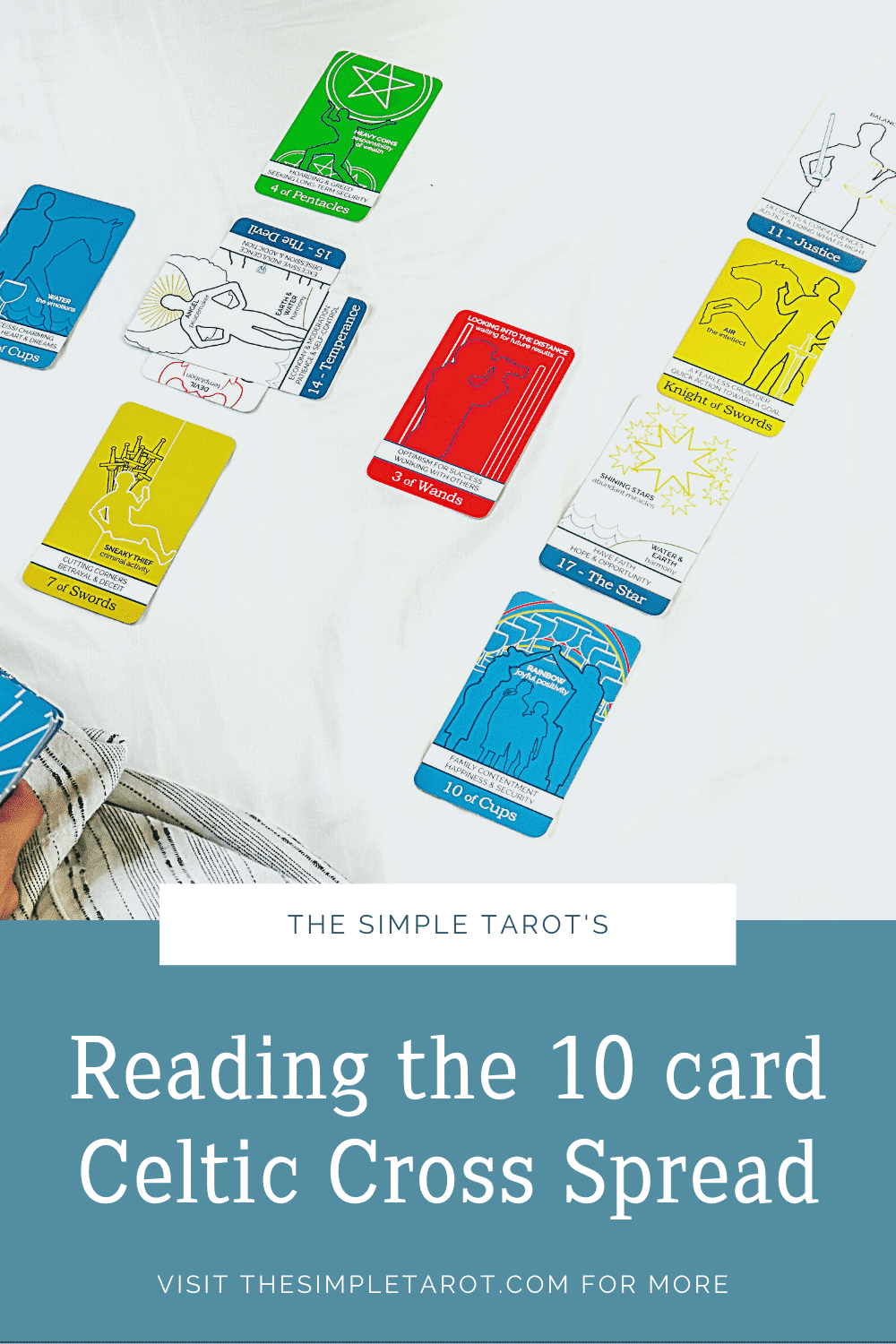 Learn how to read the Celtic Cross Tarot Spread - it's not as hard as it seems! Get a free tarot cheat sheet and other tarot resources from TheSimpleTarot.com. #learntarot #tarot