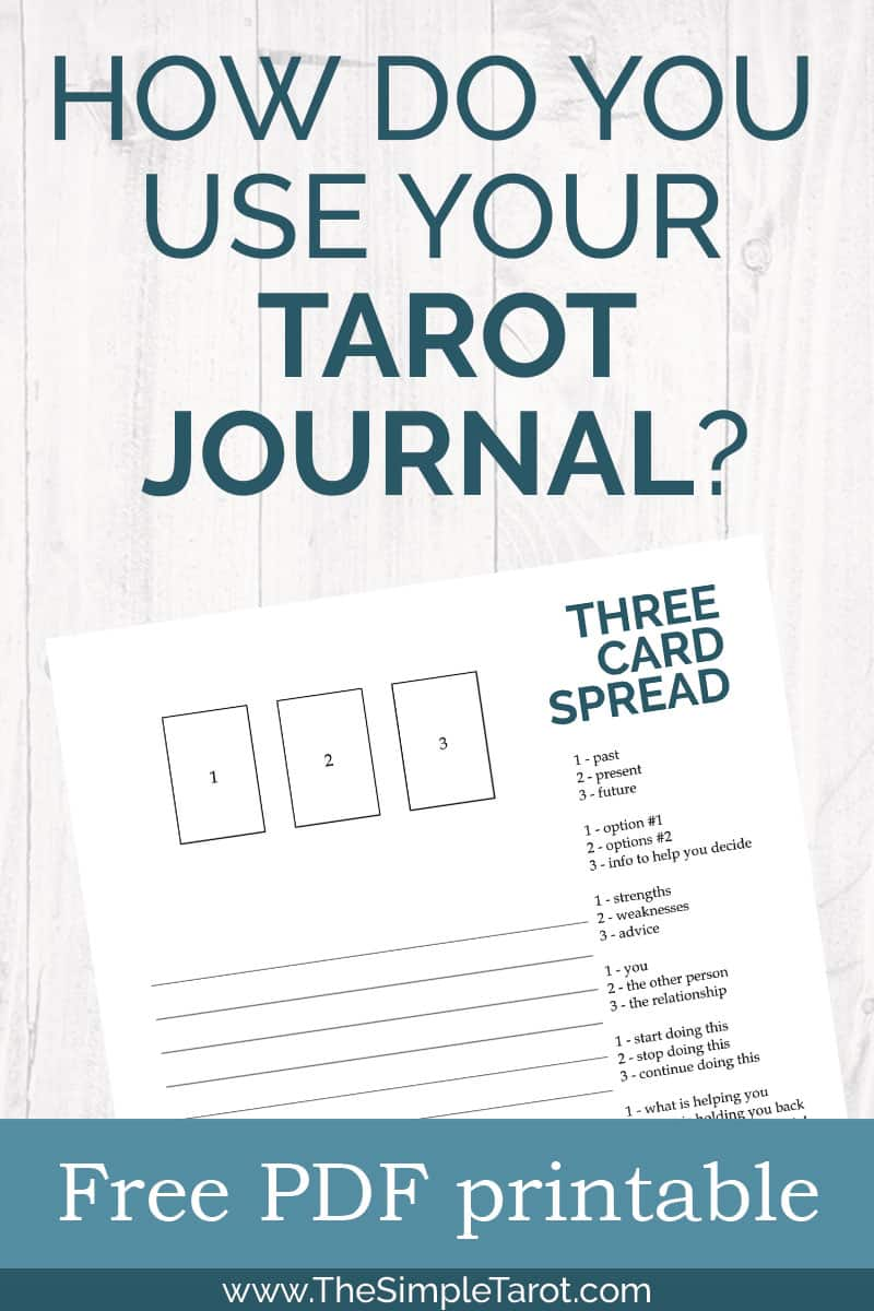Three Card Tarot Spread Reading with Tarot Journal Page